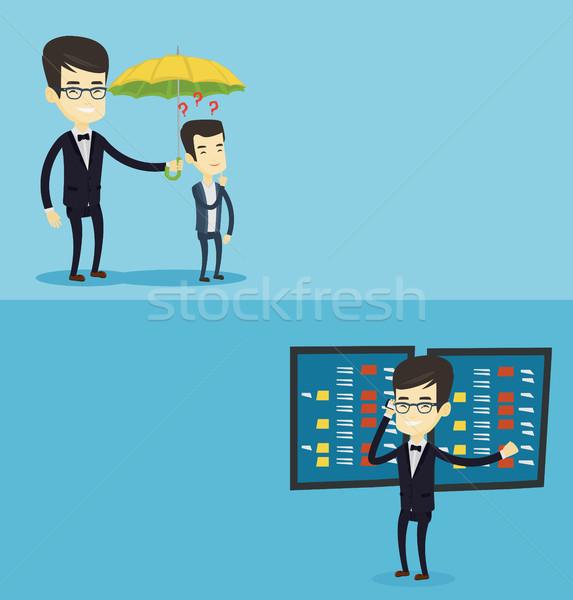 Twee business banners ruimte tekst vector Stockfoto © RAStudio