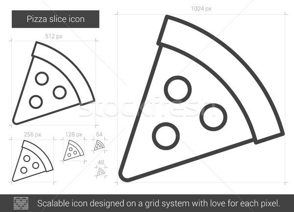 пиццы линия икона вектора изолированный белый Сток-фото © RAStudio