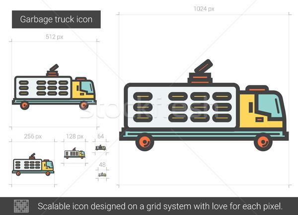Zdjęcia stock: śmieci · ciężarówka · line · ikona · wektora · odizolowany