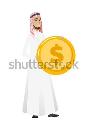 Successful business woman with dollar coin. Stock photo © RAStudio