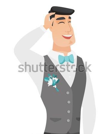 Young caucasian groom waving his hand. Stock photo © RAStudio