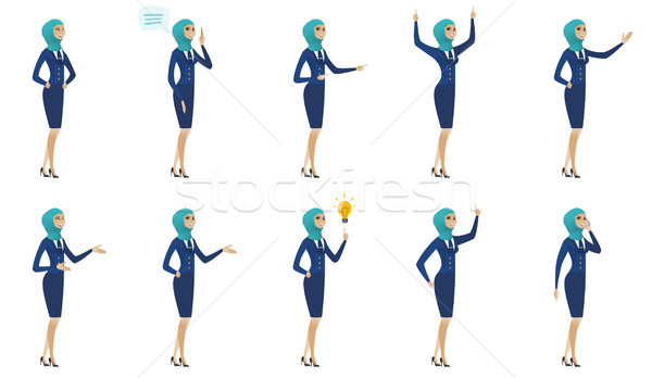 Young muslim stewardess vector illustrations set. Stock photo © RAStudio