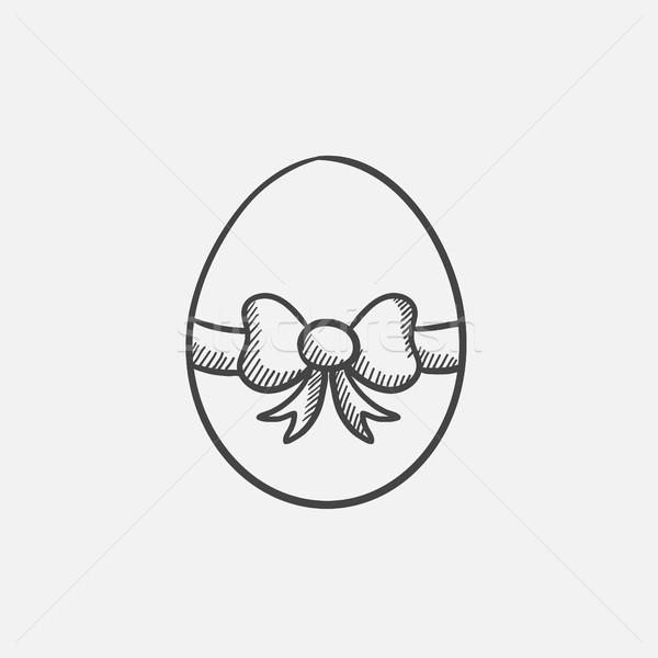 Easter egg with ribbon sketch icon. Stock photo © RAStudio