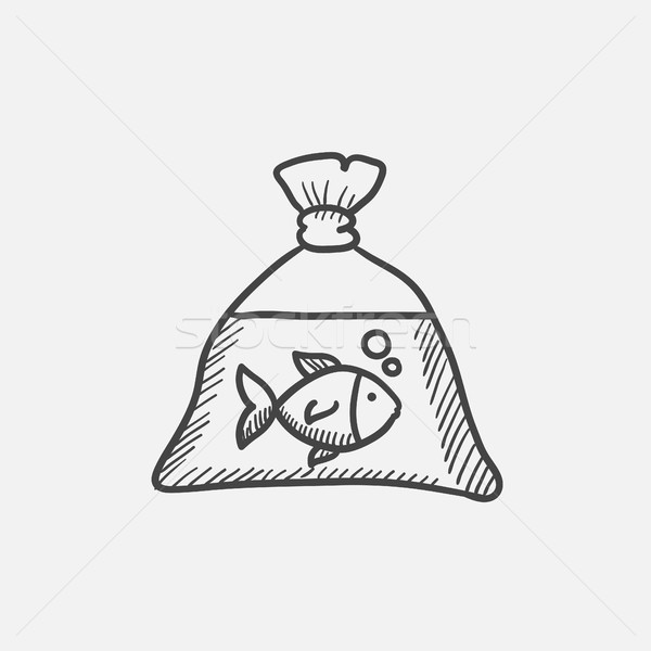 Fish in plastic bag sketch icon. Stock photo © RAStudio