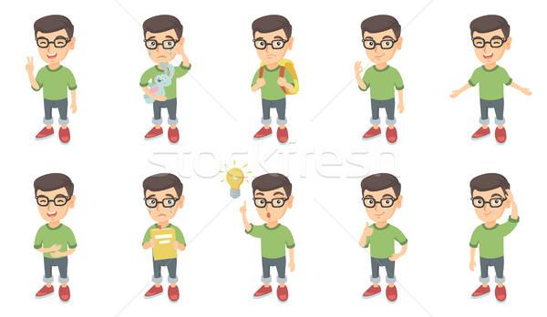 Little caucasian boy vector illustrations set. Stock photo © RAStudio