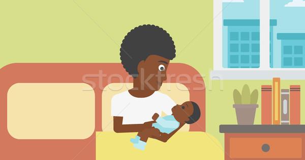 Nő új született kismama anya tart Stock fotó © RAStudio