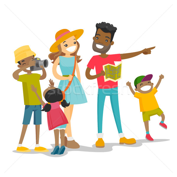 Positive multiracial family traveling together. Stock photo © RAStudio