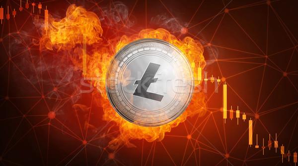 Stock fotó: Arany · érme · zuhan · tűz · láng · égő