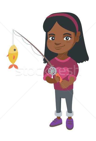 Petite fille canne à pêche poissons crochet pêche Photo stock © RAStudio