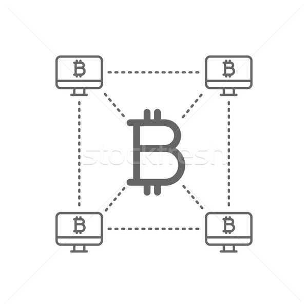 Bitcoin lijn icon symbool lineair vector Stockfoto © RAStudio