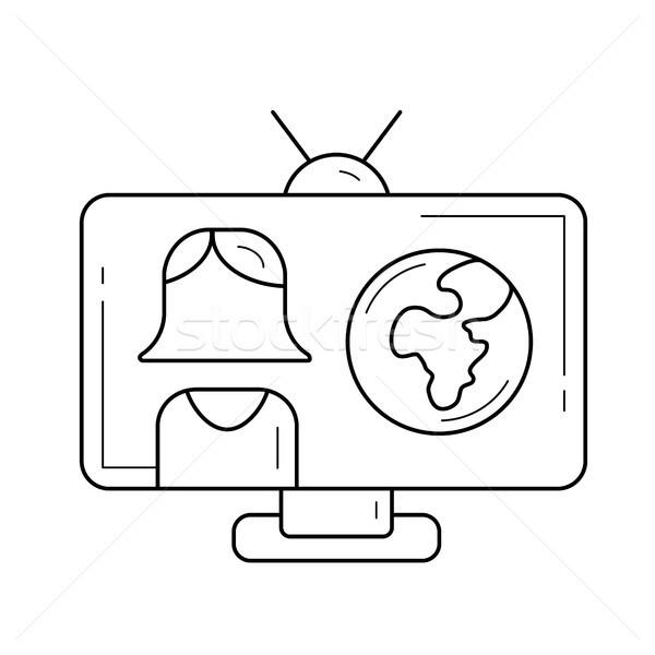 Tv verslag lijn icon vector geïsoleerd Stockfoto © RAStudio