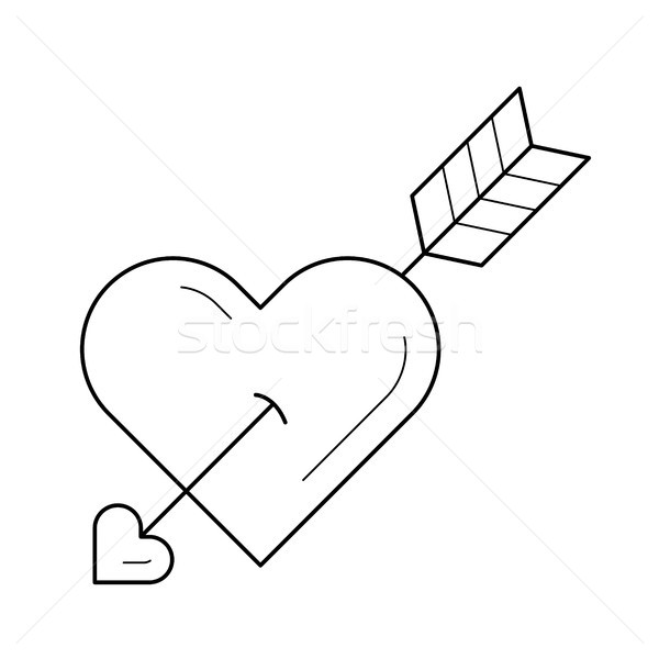 Love heart with cupid arrow vector line icon. Stock photo © RAStudio