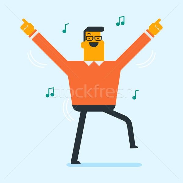 Young caucasian white man dancing. Stock photo © RAStudio