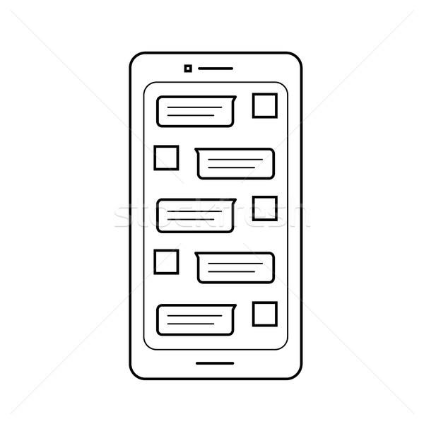 мобильных sms линия икона вектора изолированный Сток-фото © RAStudio
