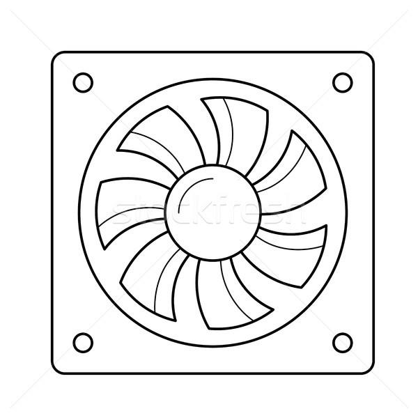 Computer lucht fan lijn icon vector Stockfoto © RAStudio