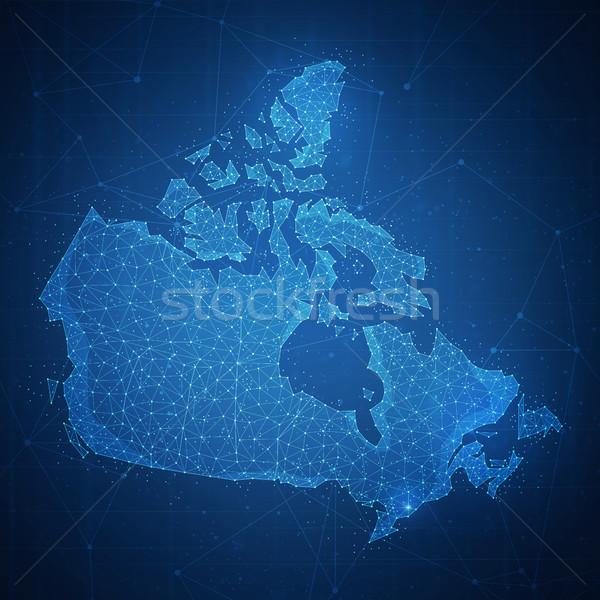 многоугольник Канада карта баннер технологий Сток-фото © RAStudio
