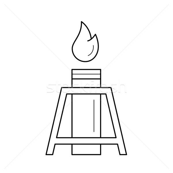 Olajkút lángok vektor vonal ikon izolált Stock fotó © RAStudio