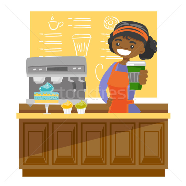 Stock photo: Young african barista making a cup of coffee.