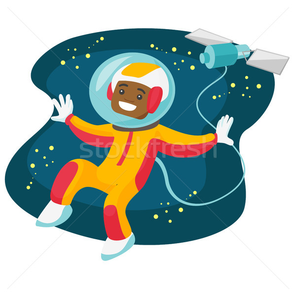 African-american astronaut flying in open space. Stock photo © RAStudio