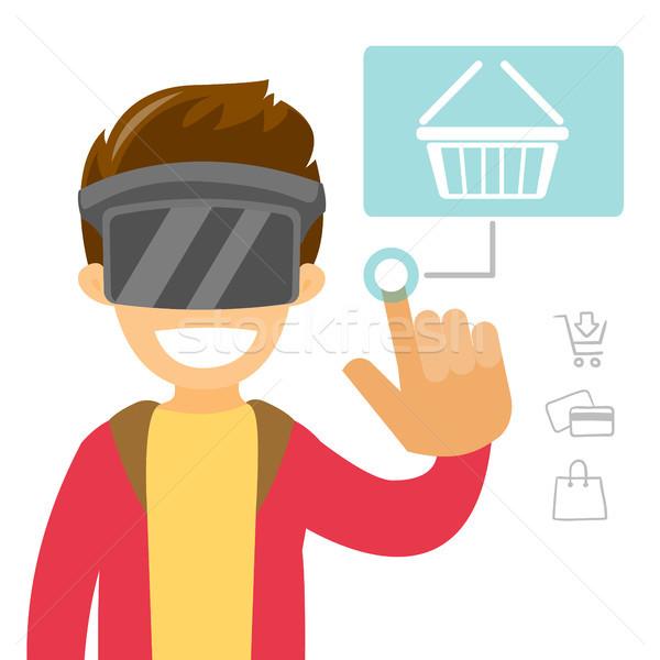 Biały człowiek faktyczny rzeczywistość zestawu zakupy online technologii Zdjęcia stock © RAStudio