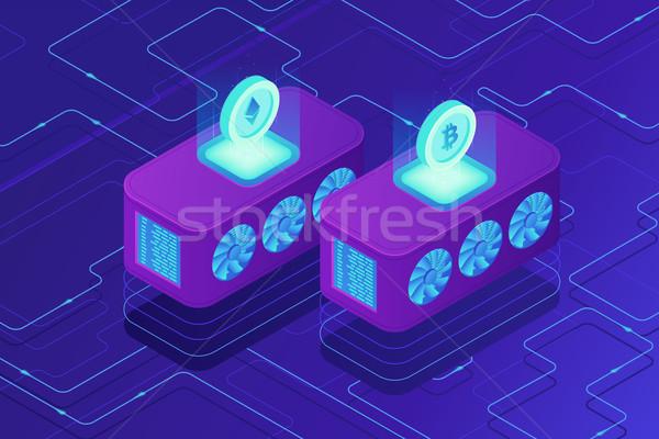 Isométrica nuvem mineração servidores remoto dedicado Foto stock © RAStudio