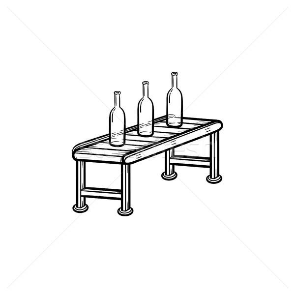 Conveyor belt with bottles hand drawn outline doodle icon. Stock photo © RAStudio