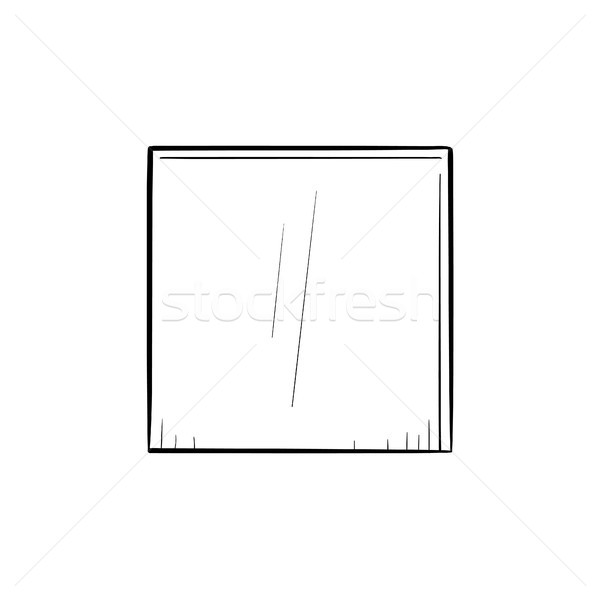 Stock photo: Stop button hand drawn outline doodle icon.