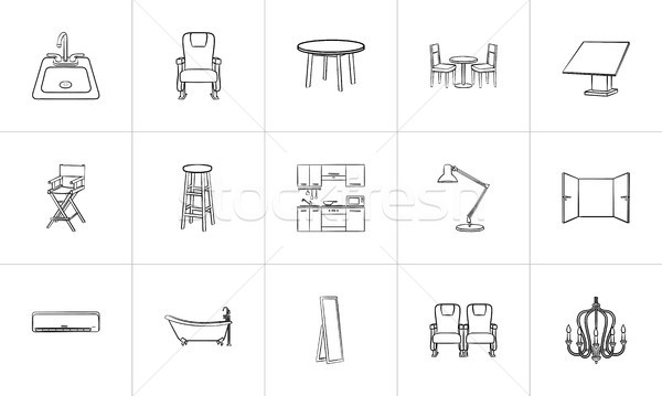 Stock photo: Furniture hand drawn sketch icon set.
