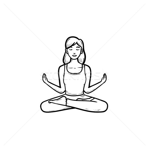 Woman in yoga lotus pose hand drawn outline doodle icon. Stock photo © RAStudio