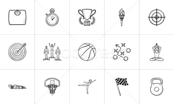 Sport and competition hand drawn outline doodle icon set. Stock photo © RAStudio