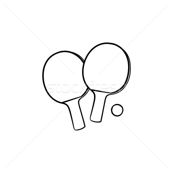 Ping-pong rackets and ball hand drawn outline doodle icon. Stock photo © RAStudio