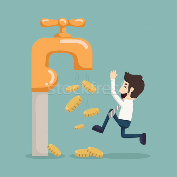 Money coins fall out of golden faucet  Stock photo © ratch0013
