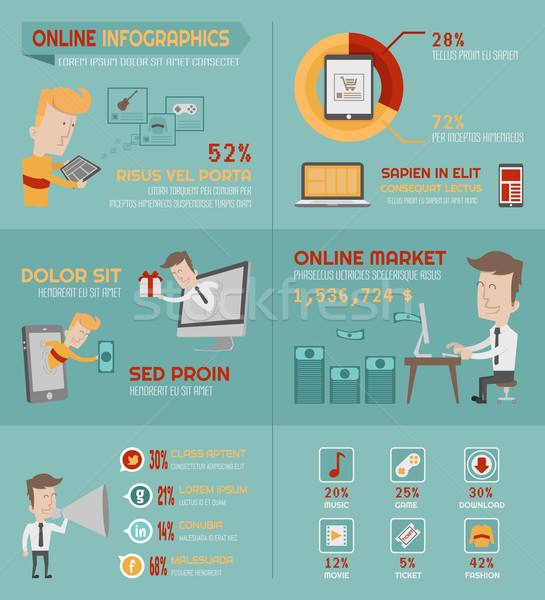 Online shopping infographics elements Stock photo © ratch0013