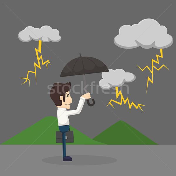 Empresario paraguas pie lluvia eps10 vector Foto stock © ratch0013