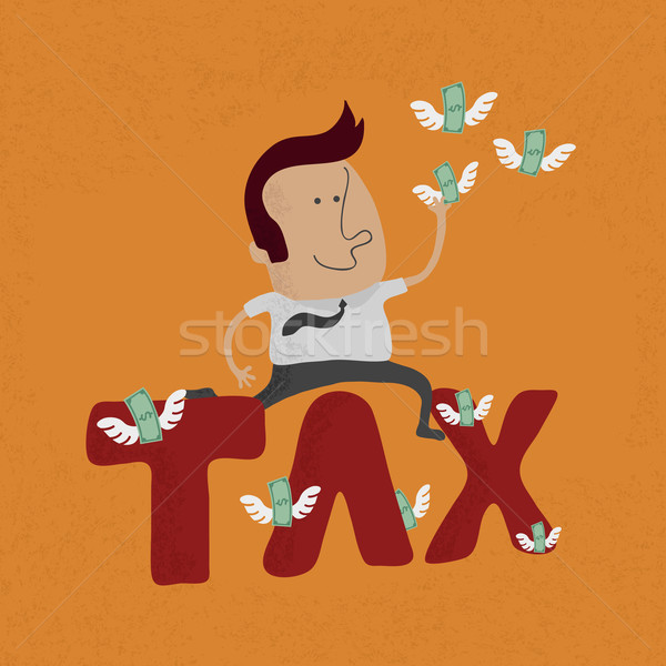 Business man jumping over the tax word  , eps10 vector format Stock photo © ratch0013