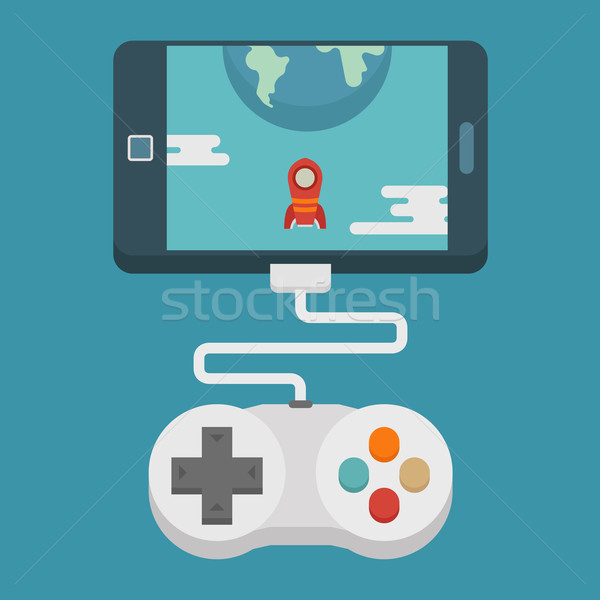 Mobile gaming concept  , flat design Stock photo © ratch0013