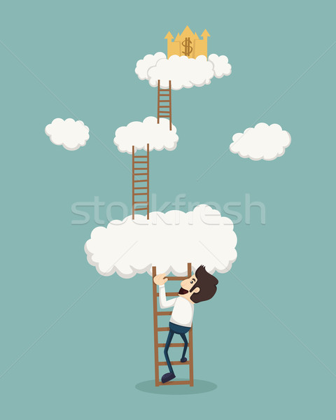 Businessman on a ladder above the clouds looking golden castle Stock photo © ratch0013