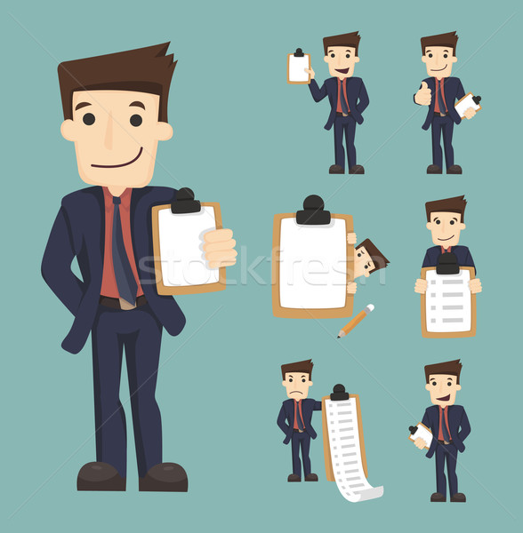 Set of businessman characters with checklist Stock photo © ratch0013