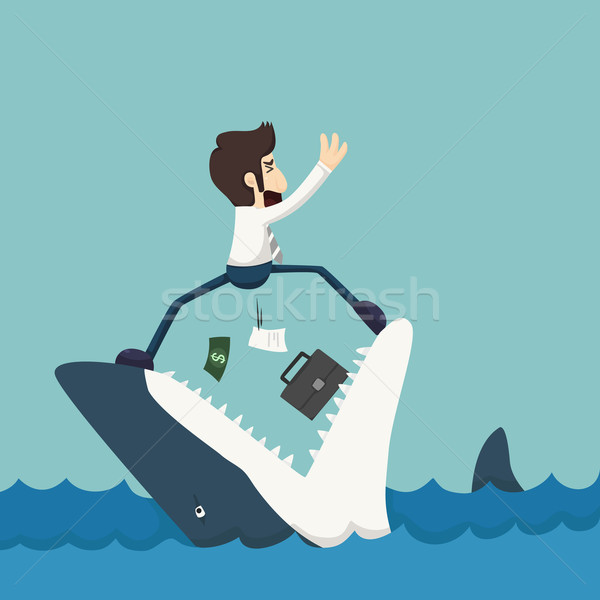 Businessman standing on Jaws of shark Stock photo © ratch0013