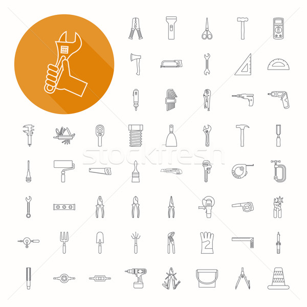 Hand tools iconen dun icon ontwerp Stockfoto © ratch0013