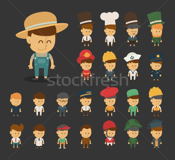 Group of professions cartoon characters Stock photo © ratch0013