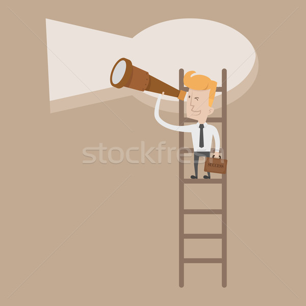 Businessman standing on ladder looking key way Stock photo © ratch0013