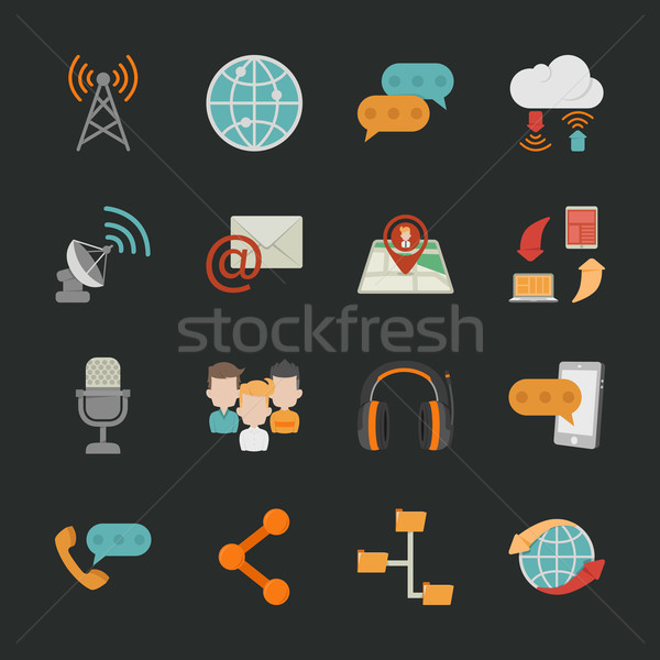 Communication icons with black background Stock photo © ratch0013