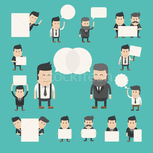 Zestaw biznesmen rozmowy debata eps10 Zdjęcia stock © ratch0013