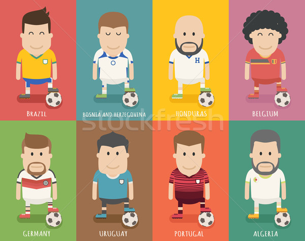 Establecer fútbol equipo uniforme futbolista eps10 Foto stock © ratch0013