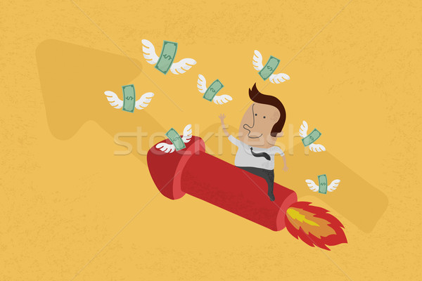 Business man on growing graph collect money , eps10 vector forma Stock photo © ratch0013