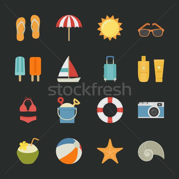 Verano iconos vacaciones negro eps10 vector Foto stock © ratch0013