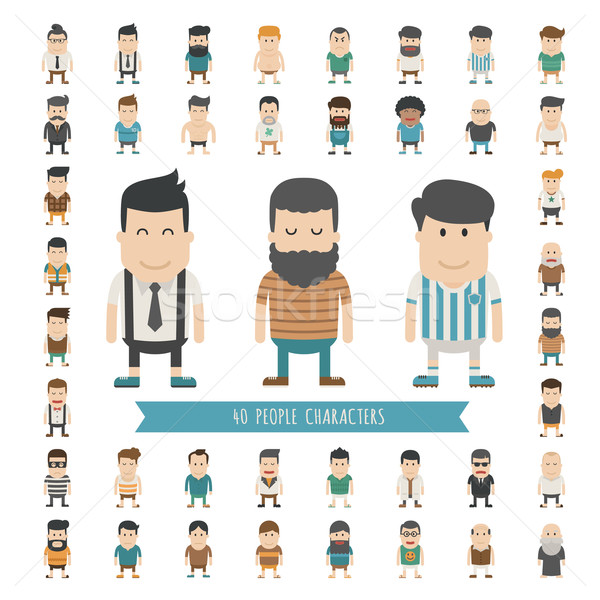 Set of 40 people characters Stock photo © ratch0013