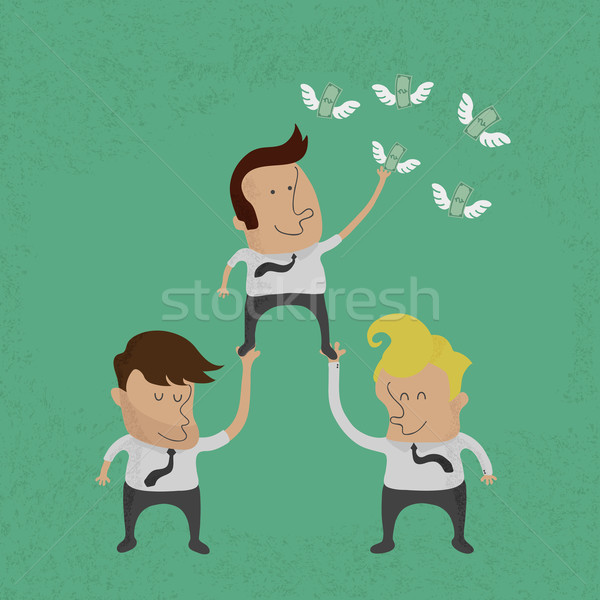 Business people working as a team to grab the money , eps10 vect Stock photo © ratch0013