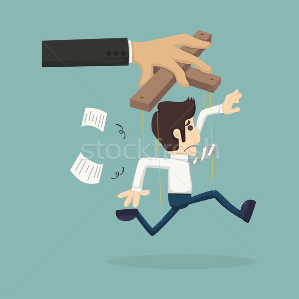 Businessman marionette on ropes controlled Stock photo © ratch0013